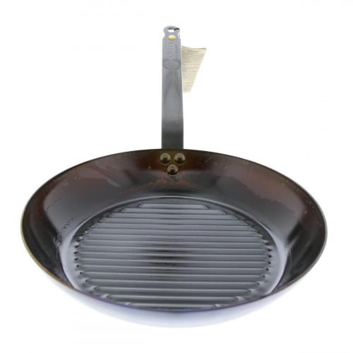 de Buyer Mineral B Grillpfanne 32 cm eingebrannt - Eisen mit Bandstahlgriff