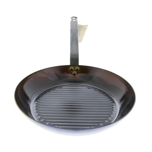 de Buyer Mineral B Grillpfanne 26 cm eingebrannt - Eisen mit Bandstahlgriff