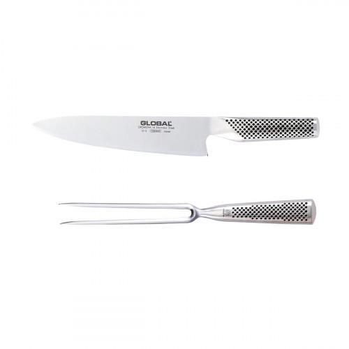 Global G-224 Tranchierset 2-teilig mit G-2 Kochmesser 20 cm und G-13 Fleischgabel