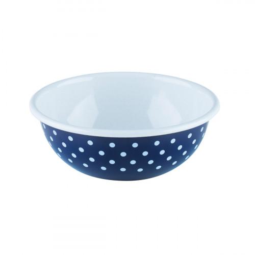 Riess Country Dirndl - Pünktchenblau Küchenschüssel 18 cm / 1,0 Ltr / aus Emaille