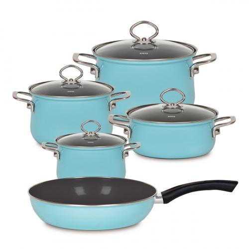 Riess Nouvelle Kristallblau 5-teiliges Kochgeschirr Set / aus Emaille