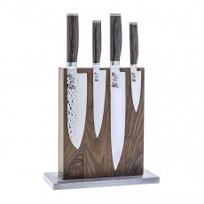 Blockwerk 8-er Messerblock magnetisch aus Nussbaumholz mit blankem Stahl-Sockel / für 8 Messer