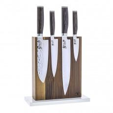 Blockwerk 8-er Messerblock magnetisch aus Nussbaumholz mit weiß lackiertem Stahl-Sockel / für 8 Messer