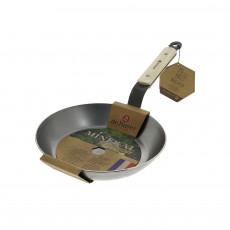 de Buyer Mineral B Bois Pfanne 20 cm - Eisen mit Bienenwachsbeschichtung - Bandstahlgriff mit Holzgriffschalen