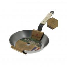 de Buyer Mineral B Bois Pfanne 24 cm - Eisen mit Bienenwachsbeschichtung - Bandstahlgriff mit Holzgriffschalen