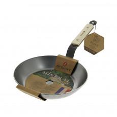 de Buyer Mineral B Bois Pfanne 26 cm - Eisen mit Bienenwachsbeschichtung - Bandstahlgriff mit Holzgriffschalen