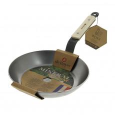 de Buyer Mineral B Bois Pfanne 28 cm - Eisen mit Bienenwachsbeschichtung - Bandstahlgriff mit Holzgriffschalen