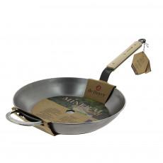 de Buyer Mineral B Bois Pfanne 32 cm - Eisen mit Bienenwachsbeschichtung - Bandstahlgriff mit Holzgriffschalen