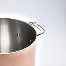 de Buyer Prima Matera Kochtopf hoch 24 cm / 7,5 Ltr - Kupfer induktionsgeeignet - Edelstahlgussgriffe