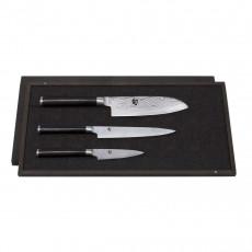 Kai Shun Classic 3-teiliges Messerset mit Officemesser, Allzweckmesser & Santokumesser / Griff aus dunklem Pakkaholz