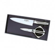 Global GKS-2210 Messer-Set 2-teilig mit Kochmesser 20 cm & Küchenschere 21 cm - Cromova 18 Stahl