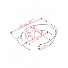 Peugeot Appolia Auflaufform oval 31 cm schiefergrau - Keramik