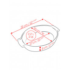 Peugeot Appolia Auflaufform oval 31 cm ecru - Keramik