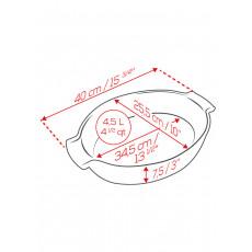 Peugeot Appolia Auflaufform oval 40 cm schiefergrau - Keramik