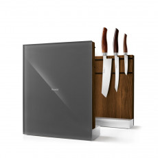 Nesmuk Messerhalter Eiche geräuchert / Glasfront grau