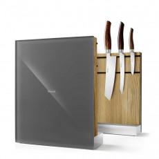 Nesmuk Messerhalter Eiche / Glasfront grau - unbestückt