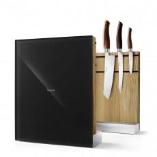 Nesmuk Messerhalter mit Eiche / Glasfront schwarz - unbestückt