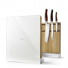 Nesmuk Messerhalter Eiche / Glasfront weiß - unbestückt