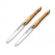 Nesmuk Soul 2-er Set Steakmesser / Tafelmesser 11,5 cm / Spezialstahl - Griff Olivenholz