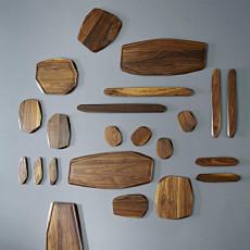 Noyer Essbrett-Set 20x15x1,3 cm 2-teilig - Walnussholz
