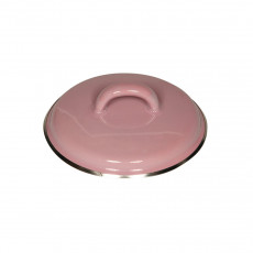 Riess Classic Bunt Pastell Deckel 12 cm rosa - Emaille mit Chromrand