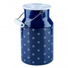 Riess Country Dirndl - Blümchenblau Milchkanne mit Deckel 2,0 L - Emaille
