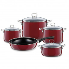 Riess Nouvelle Rosso extra stark 5-teiliges Kochgeschirr-Set - Emaille