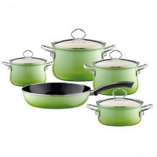 Riess Nouvelle Smaragd 5-teiliges Kochgeschirr-Set - Emaille