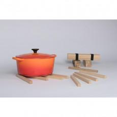 Jack & Lucy Sticks - Topfuntersetzer Set 9-teilig aus Eichenholz mit Textilgummiband grau